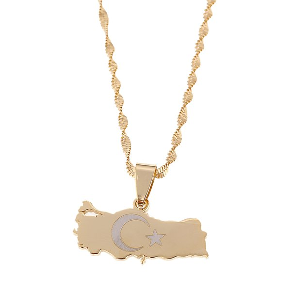 Gold überzogene Edelstahl-Türkei-Karten-Flaggen-hängende Halskette für Frauen- / Mann-Türken-Schmuck-patriotische Geschenke