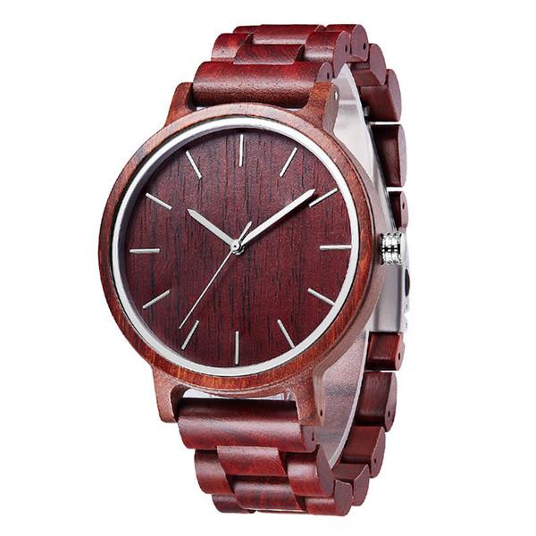 Top Gift Wood Watches Men's Unique 100% Nature Wooden Bamboo Handmade Quartz Wrist Watch Male Sport Red Hands Clock for men wholesales