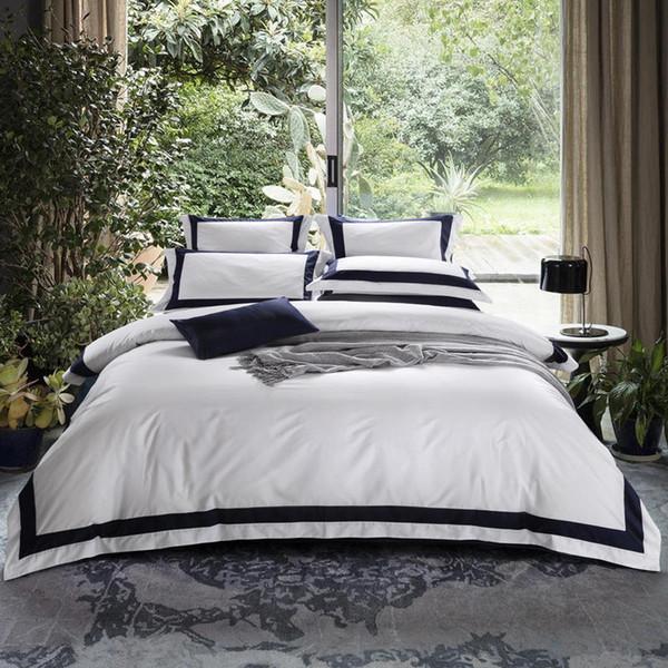 Hotel White Luxury Egyptian Cotton Bedding Set Queen King Size Duvet Cover Fitted Flat Sheet Pillowcases edredom jogo de cama