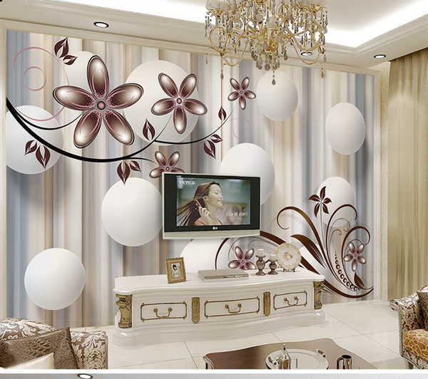 Custom Retail Modern Fashion Sense 3d Ball Flower TV Background Wall White Ball Pink Flowers Abstract Freehand Murals