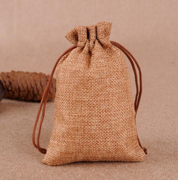 Bolsas de regalo de yute de arpillera Bolsita de patrón de Navidad Bolsita de lazo de colores de Hessian Favor de fiesta de Navidad