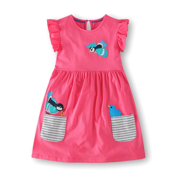 Kids Girl Abiti floreali 2019 Baby girl in cotone Cartoon dress Girl Summer a righe Pocket dress bambini vestiti all'ingrosso