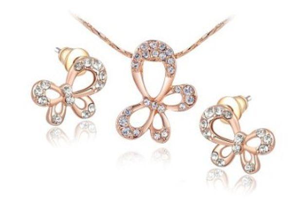Романтические женские модные украшения розовое золото бабочка серьги колье невесты помолвка свадебный фестиваль подарок на рождество