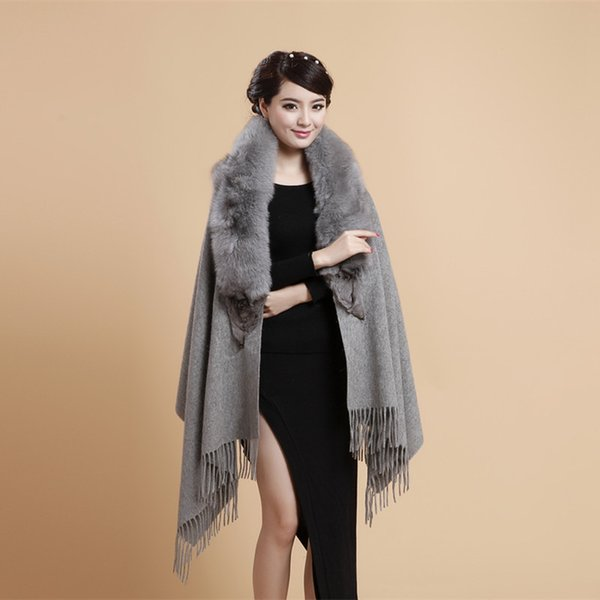 Winter New Shawl Female Shawls 100%Wool Muffler Scarf Fox Fur Scarves Wrap Solid Big Size Mujer Bufanda Tassels Thick