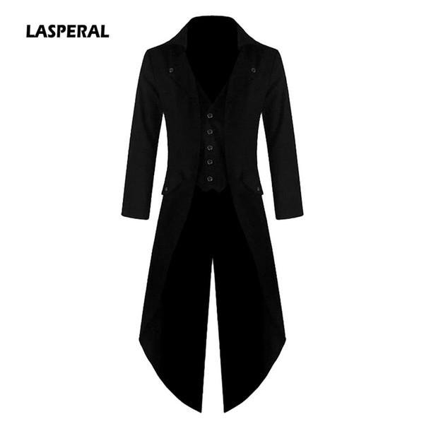 LASPERAL High Quality Men Long Blazer Jackets Punk Retro Tuxedo Wedding Jacket Coat Autumn Fashion Solid Club Windbreaker Z30
