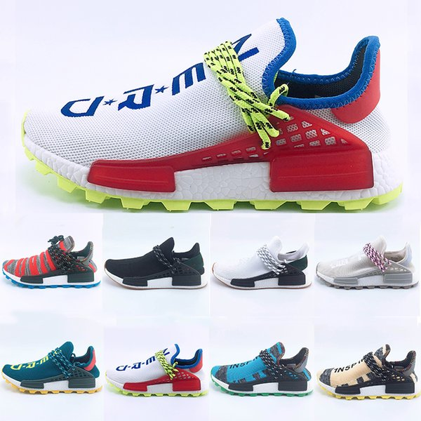 2018 New Aqua Creme x NERD Solar PacK Human Race Running Shoes pharrell williams Afro Hu trail trainers Mens Women Sports Trainer sneakers