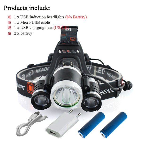 Headlamp+USB+Charger+Battery