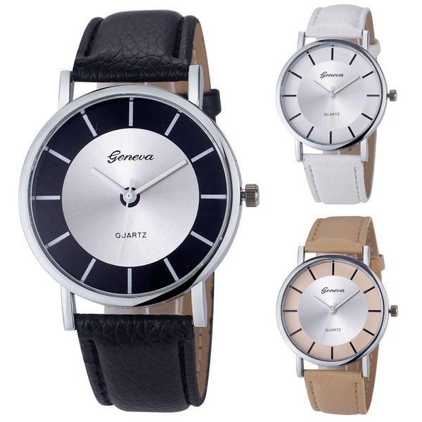 2018 Hot Selling Fashion Geneva Women Watch Retro Dial Leather Analog Quartz Wrist Watch Watches Freeshipping&Wholesale