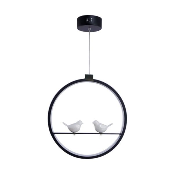 OOVOV İskandinav LED Kuşlar Bar Cafe Kolye Işık Restoran Balkon Koridor Sarkıt, Siyah, Beyaz, Alüminyum, Reçine