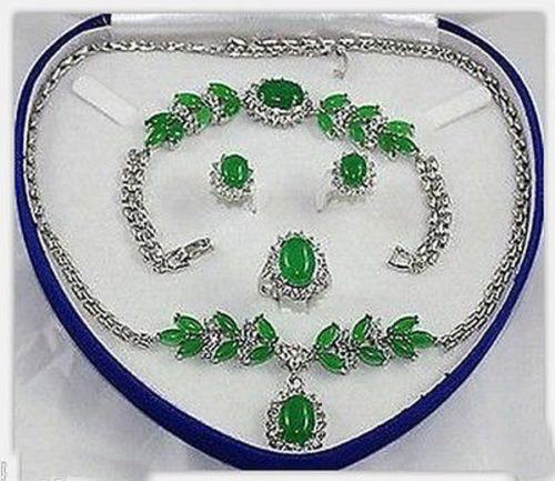 Charming Set Jewelry Green Jade Necklace Bracelet Earring Ring+box