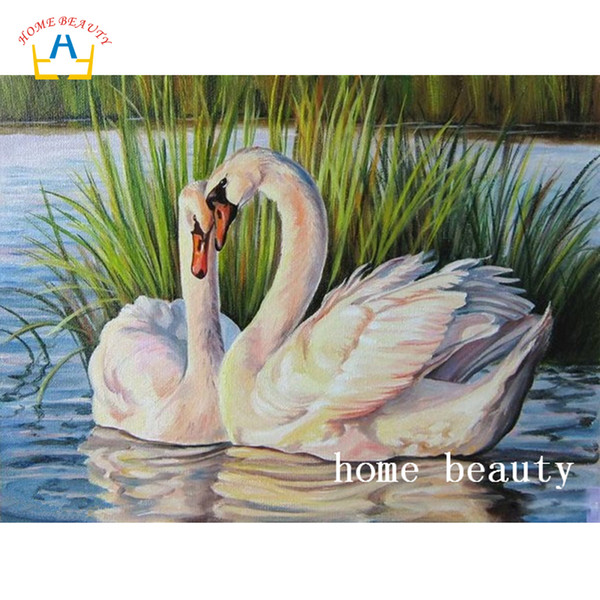 wholesale diamond mosaic cross stich kits full drill resin diamond painting animals swan pictures on the wall home decoration AC348