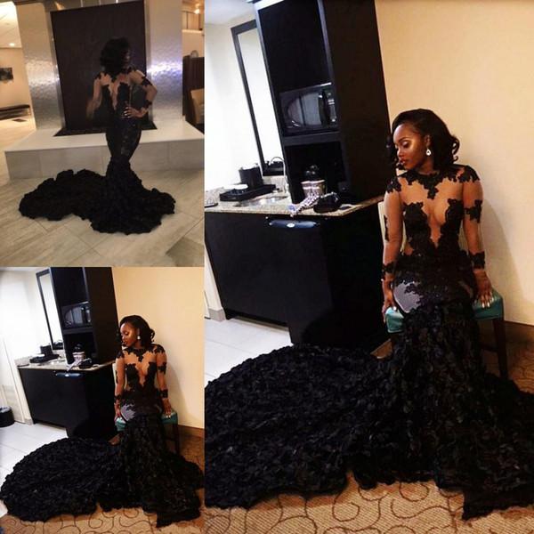2020 Afrika Ucuz Seksi Siyah Denizkızı Gelinlik Yüksek Boyun Dantel 3D Çiçek Çiçekler Mahkemesi Tren Örgün Parti Elbise Abiye Giyim See Through
