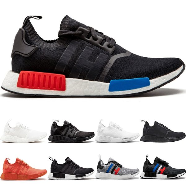 Acheter Adidas NMD R1 Boost The Details Page For More Logo Chaussures De Course NMD R1 Primeknit Hommes Femmes Triple Noir Blanc Og Classique Tri