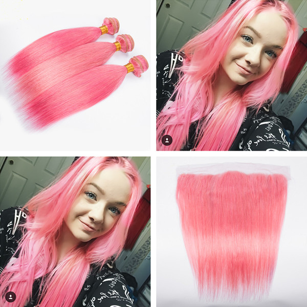 Popular Colored Pink Silky Straight Hair Weaves With Lace Frontals 4Pcs/Lot Straight Ear To Ear Frontal With pink Hair Bundles 4pcs lot