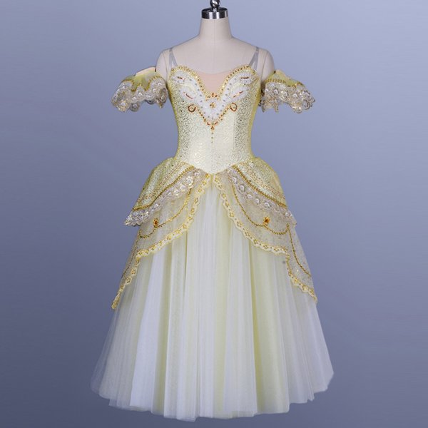 Mulheres Ouro Profissional Ballet longas Tutu meninas do ballet Stage Dancewear trajes de dança Desempenho Ballerina Dress