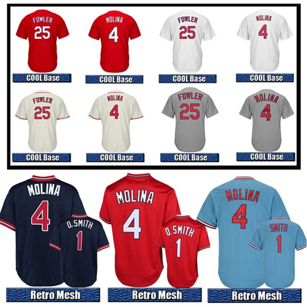 Top quality jersey red 4 Yadier Molina 25 Dexter Fowler men white COOL Base Baseball Jerseys