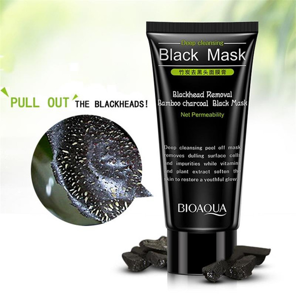 Blackhead Remover Bamboo Charcoal Máscara facial negra Limpieza profunda Peel Off Mascar poros Reducir el tratamiento del acné Control del aceite