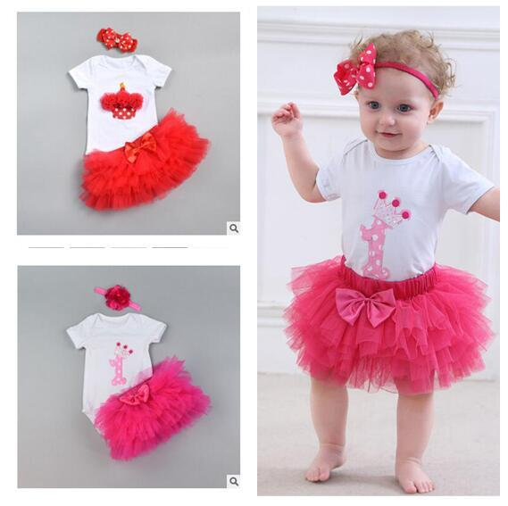 Romper Cute Skirt with Headband Kids Clothing Baby Romper Tulle Bowknot Skirt Clothes 8 Styles Cotton DHL Free Shipping
