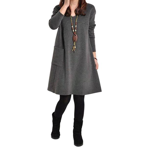 2017 мода осень зима женщины с длинным рукавом карман Dress твердые o шеи случайные свободные платья партии Vestidos плюс размер S-XXXXXL