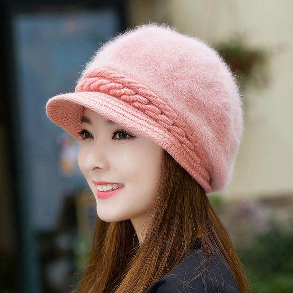 Fall Winter Artist Women Furry Fur Knitted Beanies Hat,Rabbit Wool Bonnet Thick Plush Berets Cap ,Ladies Fashion Casquette Beret