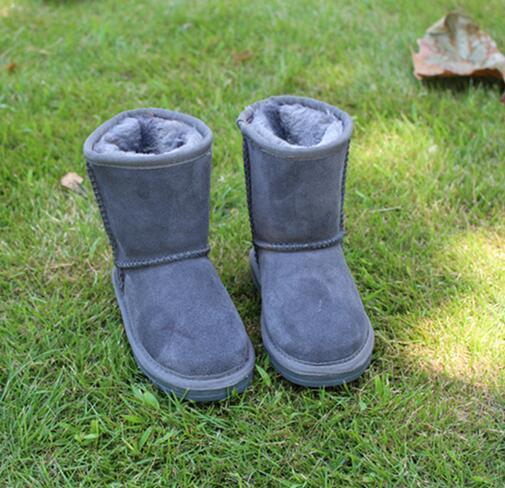 2018 flambant neuf en Australie des chaussures classiques pour enfants automne et hiver tube WGG 5281 bottes de neige enfants plus des chaussures en cuir velours anti-dérapant chaud