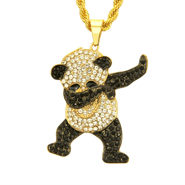 Europe America hip-hop diamond crystal cute animal Pendant Necklace exaggerated long style gold plated hip-hop rap pendant necklace