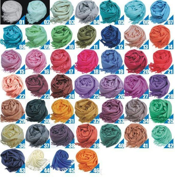 46Colors Hot Pashmina Cashmere Solid Shawl Wrap Women's Girls Ladies Scarf Soft Fringes Solid Scarf TO357