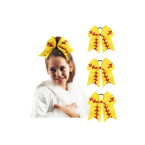 """7"""" Large Softball Team Baseball Cheer Bows Handmade Yellow Ribbon and Red Glitter Stiches with Ponytail Hair Holders for Cheerleading Girls"""