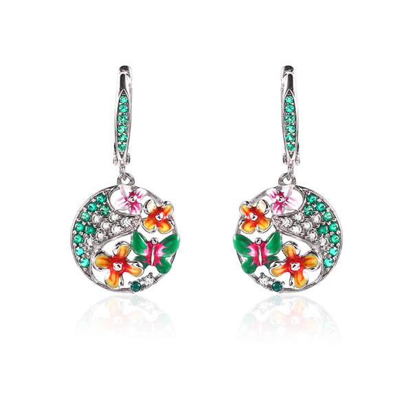 Smalto a forma di farfalla Fiore 100% 925 sterling argento a forma di orecchini a forma di ciondolo anello gioielli Set per le donne Gioielli di moda