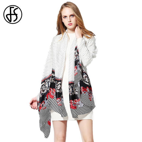 FS Brand Silk Scarf Women Summer Flower Print Luxury Scarves Black White Polka Dots Ladies Wrap Shawl Long Foulard Soie Femme