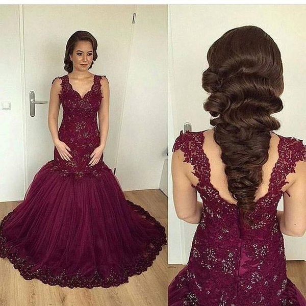 Burgundy Mermaid Africa Evening Dress Plus Size 2018 V Neck Lace Zipper Floor Length Africa Mother Of Bride Dress Prom Formal Pageant Wear