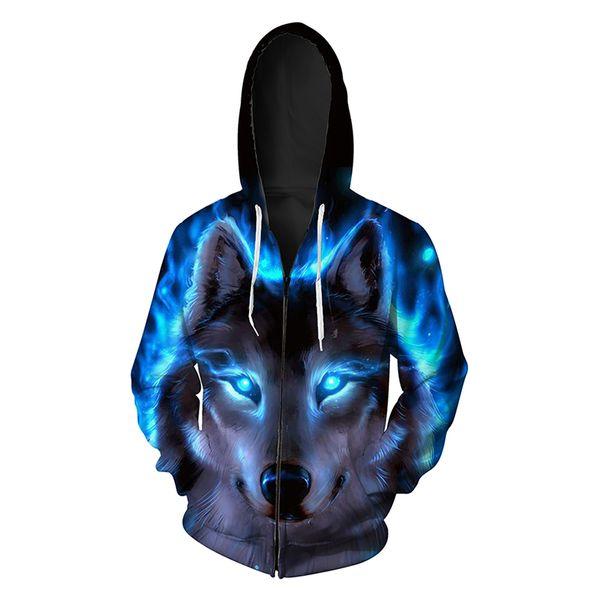 Men Zipper Hoodie Wolf Head 3D Full Printed Man Zip Hooded Sweatshirt Unisex Casual Hoodies Long Sleeves Sweatshirts Digital Tops (RL419)