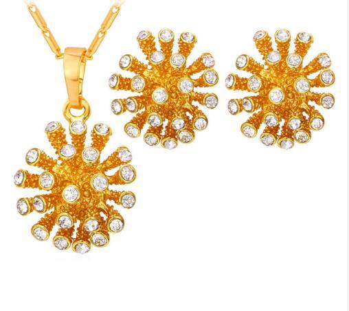 Crystal Star Jewelry Set New Trendy Gold Color Rhinestone Cute Hemisphere Necklace Earrings Set For Women S809