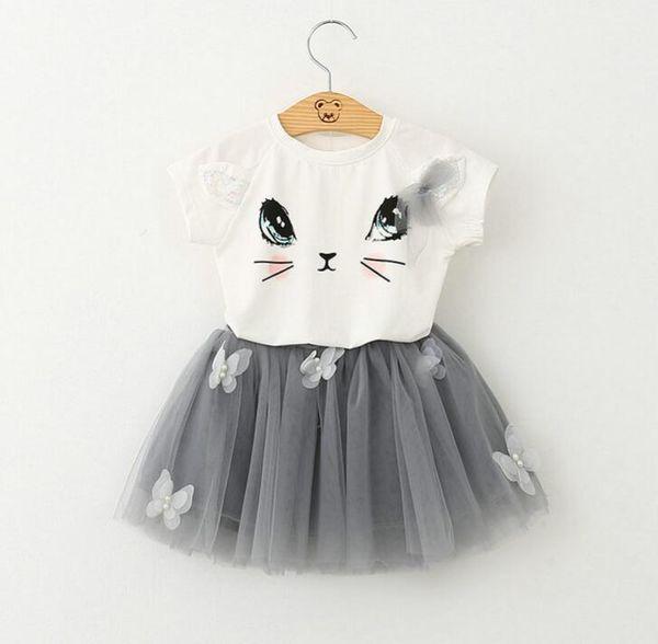 Girls Clothing Sets New Summer Fashion Style Cartoon Cat Printed T-Shirts+Net Veil Dress 2Pcs Girls Clothes Sets