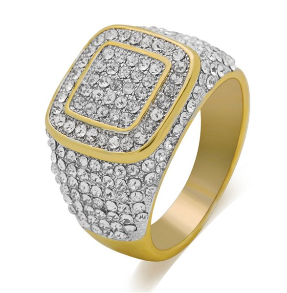 2018 New Luxury Diamond Gold Plated Men & Women Hip Hop Ring Us Size 6-12# Free Shipping