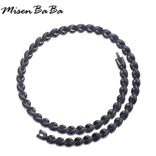 New Korean Black Stainless Steel Energy Balance Health Care Jewelry Germanium Magnetic Necklaces For Women Men Chains Necklaces