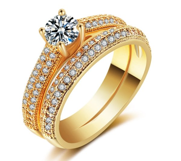 Set Diamond Ring Fashion High-end Luxury Matching Ring Plated Gold Micro Set Ring Inlaid Artificial Gemstone Copper