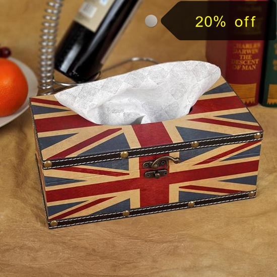 2015 Classic wooden UK flag pattern Tissue Boxes for room seat type decorative tissue holder paper storage box