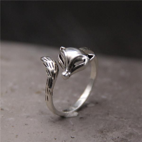 2018 Neue Ankunft Förderung Anel Feminino S925 Reines Wiederherstellen Alte Weisen Tun Alte Nette Fox Ring Persönlichkeit Die Thai Für Frauen
