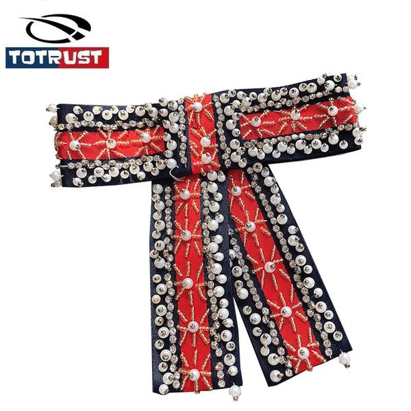 Vintage Bead Neck Tie For Women Uniform Pin Necktie Party Gravatas Fashion Diamond Bowties Butterfly Tie Gifts For Ladies Girls