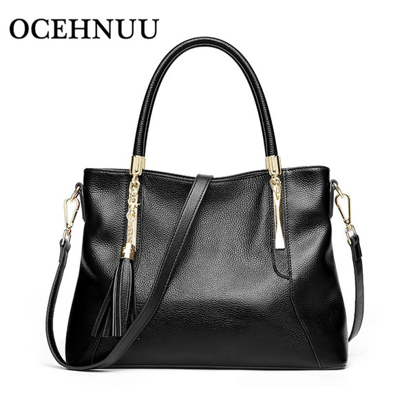 OCEHNUU Tassel Women Real Leather Handbags Luxury Ladies Shoulder Bags 2018 Cowhide Leather Crossbody Messenger Bags For Women