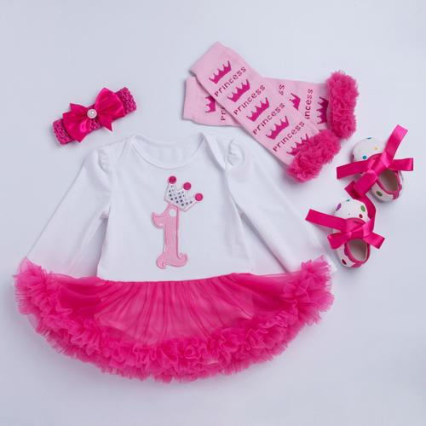 Girls Bodysuit Baby Girl Clothes Baptism Dresses Pink Long Sleeve Dress baby body Clothing Tutu Clothes 4pcs/set