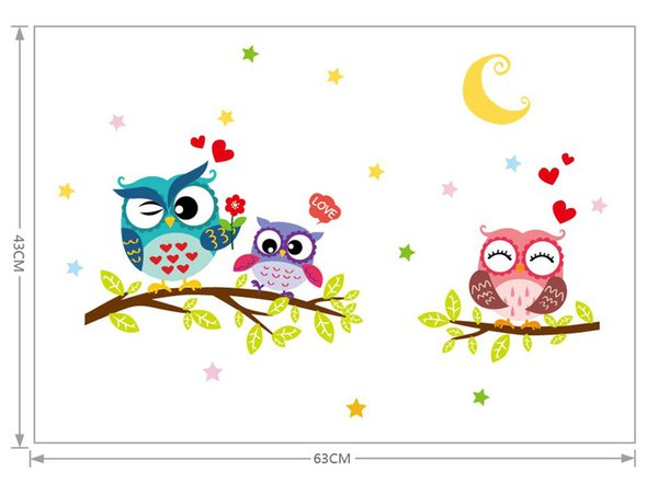 ISHOWTIENDA Wallpaper Removable Waterproof Cartoon Animal Owl Wall Sticker For Kids Living Rooms Home Decor wall decal