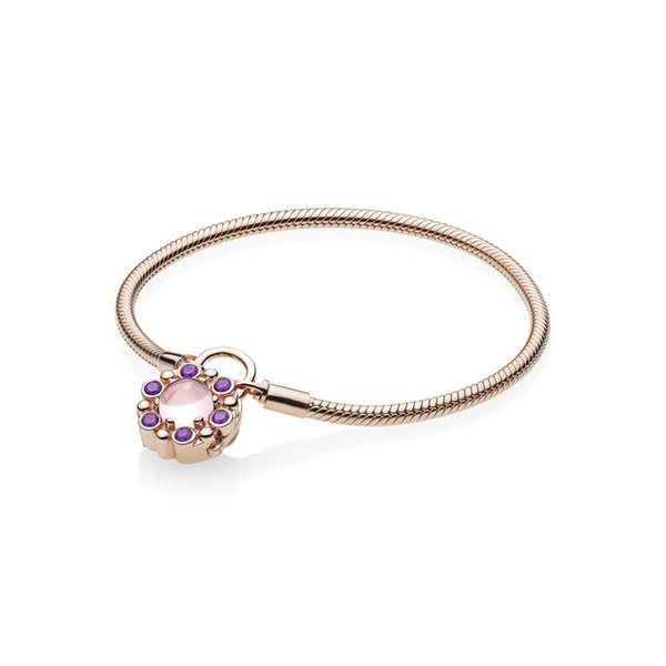2018 NEW 100% 925 Sterling Silver Heraldic Charm Radiance Padlock Bracelet Rose & Pink & Purple Crystals Fashion Jewelry Gift