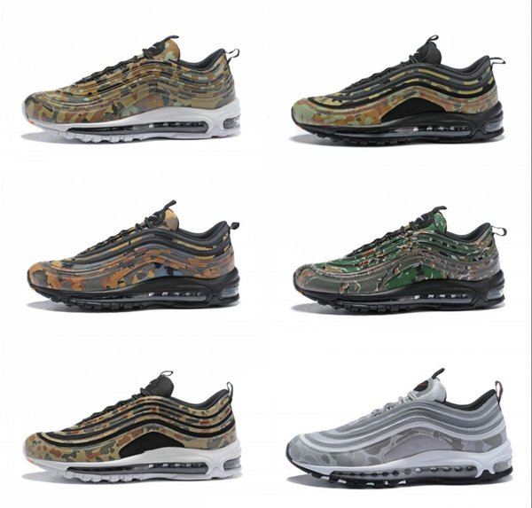 b0384f0738 2018 New 97 Country Camo Japan Italy UK Army Green Running Shoes Men 97s  Camouflage Ultra