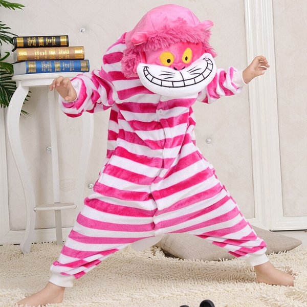New anime Sleepwear Cheshire Cat Pajamas Kids Onesie Animal Rompers Boys Grils Sleepsuit Cartoon Cosplay Pyjama Winter Clothes
