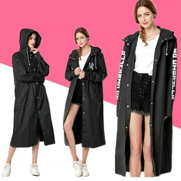 top popular Women Raincoat Black Outside Rainwear Rain Coat For Men Long Raincoats Hiking Tour Poncho Raincoat Women men Waterproof Poncho 2019