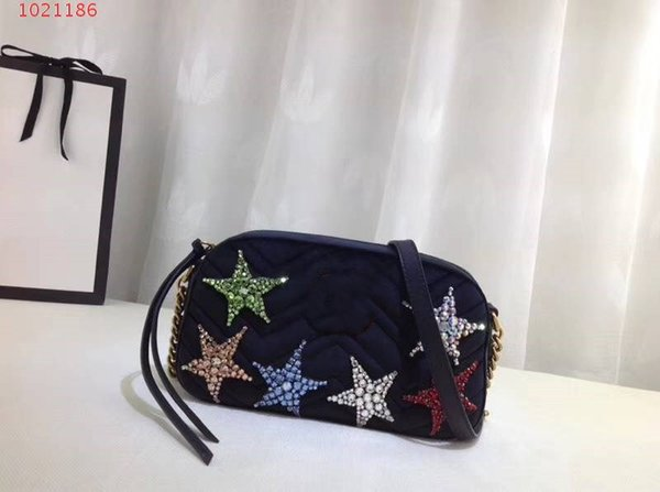 genuine Leather 2018 new style brand design crystal star pattern single shoulder bags suede crossbody classic fashion banque party bags