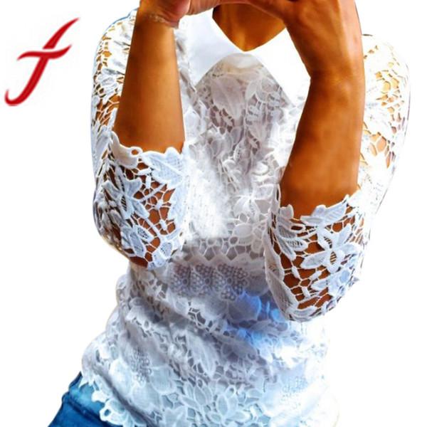 Feitong Yeni Bayan Dantel Bluzlar Moda Bayanlar Beyaz Yarım Kollu Çiçek Nakış Hollow Gömlek Bluz Blusas feminina 2018 Tops