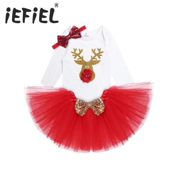 iEFiEL Red Newborn Infant Baby Girls Kids Christmas Outfit Long Sleeves Reindeer Romper with Tutu Skirt Headband Set 3-18Months